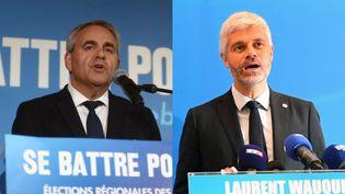 Xavier Bertrand et Laurent Wauquiez le 20 juin 2021. (GAEL HERISSÉ/MAXPPP-RÉMI DUGNE/PHOTOPQR/LA MONTAGNE/MAXPPP)