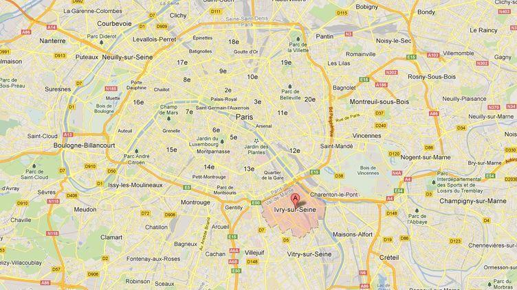 Capture de Google maps pointant Ivry-sur-Seine (Val-de-Marne) où, début avril, un homme a effectué un vol sur un autre homme en train de se suicider. (GOOGLEMAPS / FRANCETV INFO)