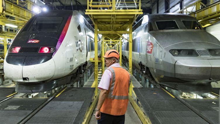 Un employé de la SNCF dans un centre de maintenance des rames de TGV, le 31 juillet 2018 à Châtillon (Hauts-de-Seine). (GEOFFROY VAN DER HASSELT / AFP)