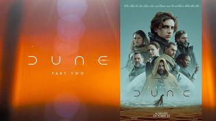 """Affiche de 'Duneé et visuel """"Dune Part Two"""" postée par les producteurs du film sur les réseaux sociaux, 2021 (WARNER BROS. FRANCE)"""