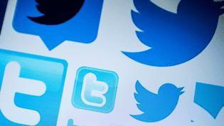 Des logos du réseau social Twitter sur un ordinateur à Pékin, le 23 mars 2018. (NICOLAS ASFOURI / AFP)