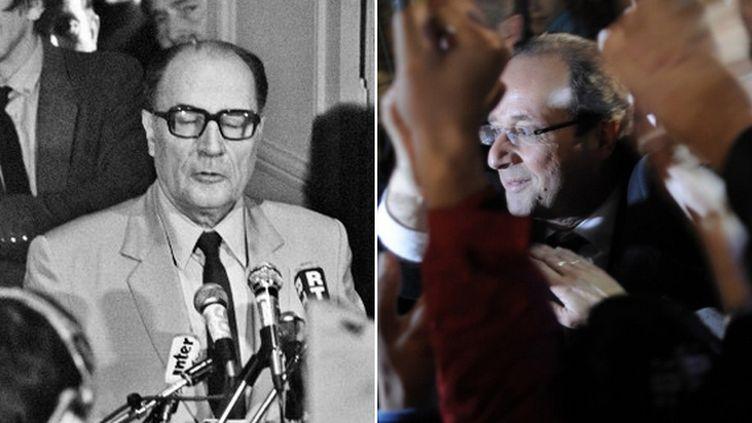 François Mitterrand (G) à Château-Chinon (Nièvre) le 10 mai 1981 et François Mitterrand à Tulle (Corrèze), le 6 mai 2012. (JEAN-CLAUDE DELMAS / JEFF PACHOUD / AFP)
