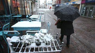 Une femme marche sous la neige à Montbéliard (Doubs), vendredi 13 janvier 2017. (MAXPPP)