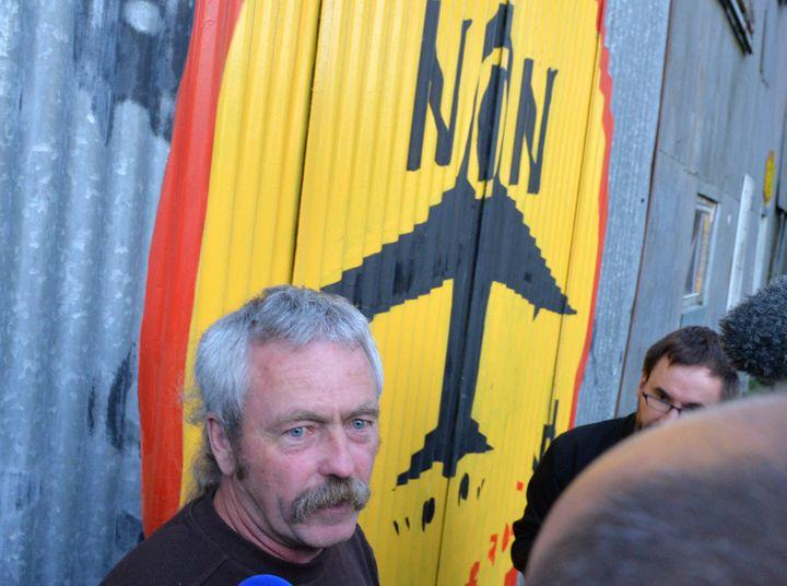 Sylvain Fresneau, agriculteur menacé d'expulsion, réagit à la consultation sur le projet d'aéroport de Notre-Dame-des-Landes, le 26 juin 2016. (MAXPPP)