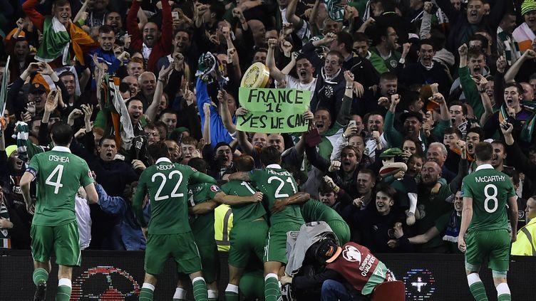 Le joie indescriptible des Irlandais du Nord qui se qualifient pour la première fois de leur histoire pour l'Euro (TOBIAS SCHWARZ / AFP)