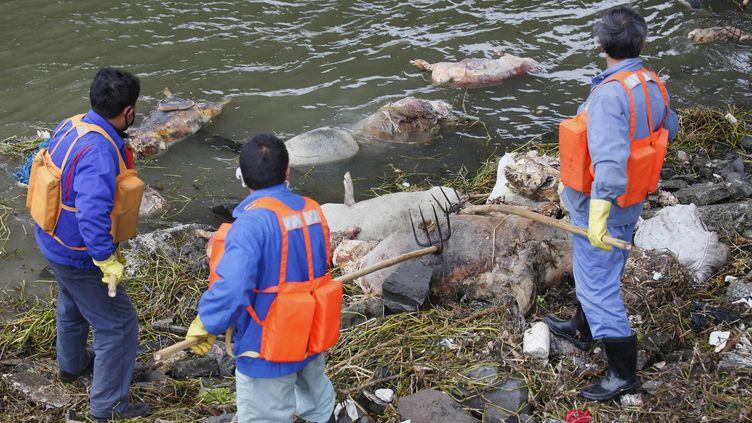 Des employés de la ville de Shanghai(Chine) nettoyent les rives du fleuveHuangpu, le 11 mars 2013. ( REUTERS)