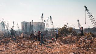 Beyrouth, le 13 août 2020, plus d'une semaine après la double explosin qui a en partie détruit la ville. (BENJAMIN GUILLOT-MOUEIX / HANS LUCAS / AFP)