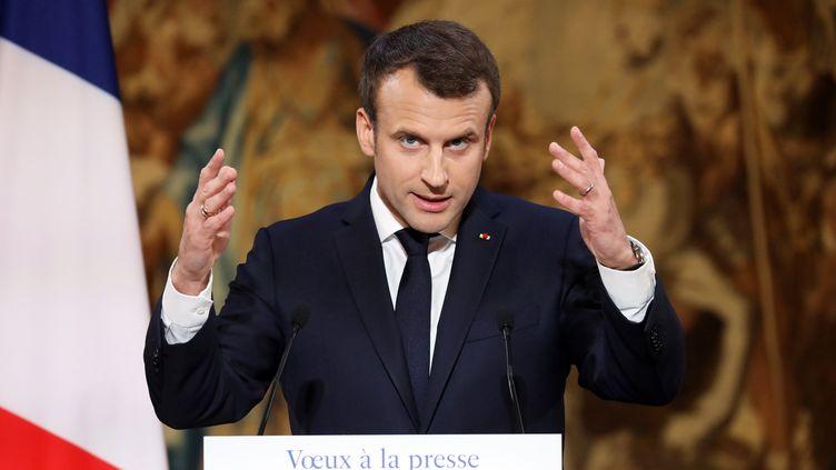 Emmanuel Macron lors de ses voeux adressés à la presse mercredi 3 janvier à l'Elysée. (LUDOVIC MARIN / POOL / AFP POOL )