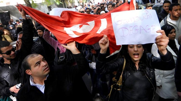 Manifestation contre le gouvernement Ghannouchi à Tunis, le 20 février 2011 (AFP / Fethi Belaid)