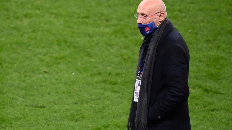 Bernard Laporte, président de la fédération française de rugby, le 21 Octobre 2021 au Stade de France (FRANCK FIFE / AFP)