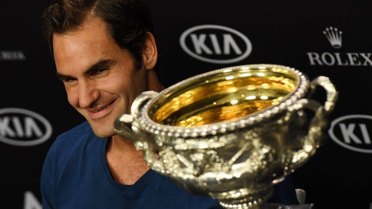 Roger Federer en conférence de presse après sa victoire (WILLIAM WEST / AFP)