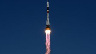 Décollage de la fusée Soyouz, en route vers la Station spatiale internationale, depuisBaïkonur, au Kazakhstan, le 11 octobre 2018. (KIRILL KUDRYAVTSEV / AFP)