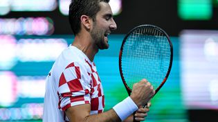 Marin Cilic lors du match l'opposant à Lucas Pouille, à Zadar (Croatie), le 16 septembre 2016. (ANDREJ ISAKOVIC / AFP)