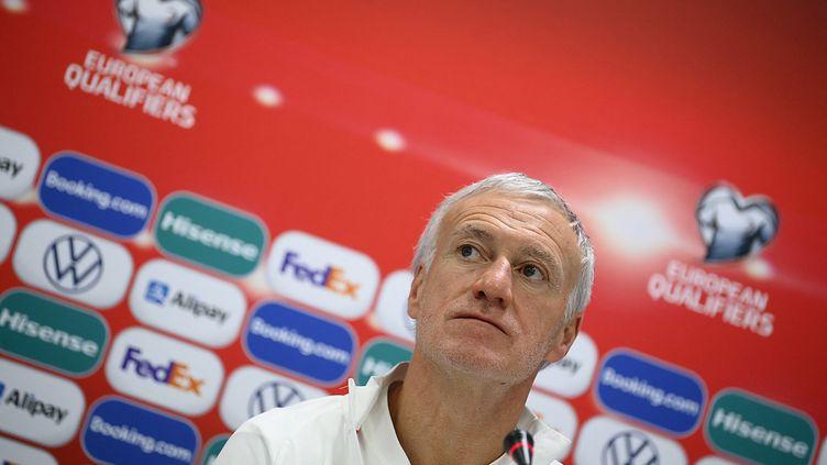 Le sélectionneur de l'équipe de France, Didier Deschamps, lors d'une conférence de presse à l'Astana Arena, à Noursoultan (Kazakhstan), le 27 mars 2021. (FRANCK FIFE / AFP)
