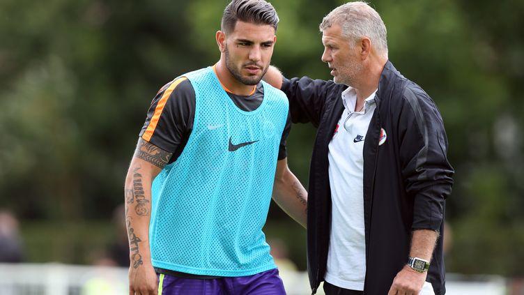 L'entraîneur de Caen Patrice Garande attend beaucoup de sa nouvelle recrue Andy Delort (CHARLY TRIBALLEAU / AFP)