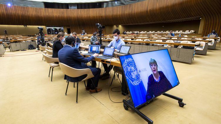 Le Conseil des droits de l'homme des Nations unies a tenu, le 27 mai, une réunionà Genève (Suisse) sur les atteintes aux droits humainsdans les territoires palestiniens occupés et en Israël. (MARTIAL TREZZINI / KEYSTONE / AP)