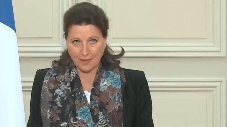 Agnes Buzyn à l'issue du conseil des ministres, le 24 janvier 2020. (CAPTURE D'ÉCRAN)