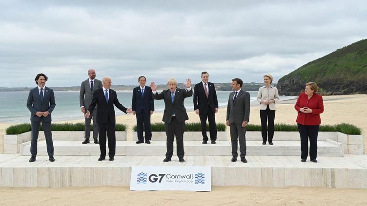 Les dirigeants du G7, le 12 juin 2021 à Cornwall (Royaume-Uni). (EYEPRESS NEWS / AFP)