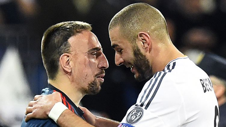 Ribéry et Benzema lors de la demi-finale aller (GERARD JULIEN / AFP)