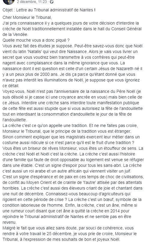 Post Facebook partagé le 2 décembre 2019 par un internaute. (CAPTURE D'ÉCRAN)