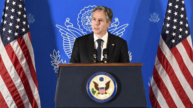 Conférence de presse du secrétaire d'Etat américain, Antony Blinken, à Jérusalem, le 25 mai 2021. (U.S. EMBASSY IN JERUSALEM / ANADOLU AGENCY)