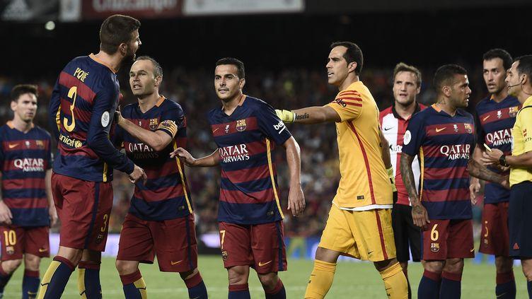 Gérard Piqué, juste après son expulsion lundi face à l'Athlétic Bilbao (JOSEP LAGO / AFP)