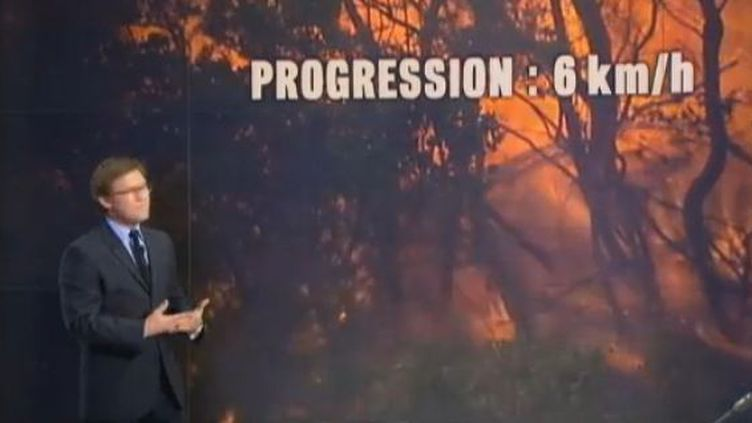 Capture d'écran JT 20H 23 juilet 2012Six km/heure, c'est considérable pour des feux de forêt. Comment peut-on expliquer cette rapidité en Catalogne depuis 24 heures ? Lorent Romejko, Monsieur Météeo de France 2 nous en dit plus. (FRANCE 2)
