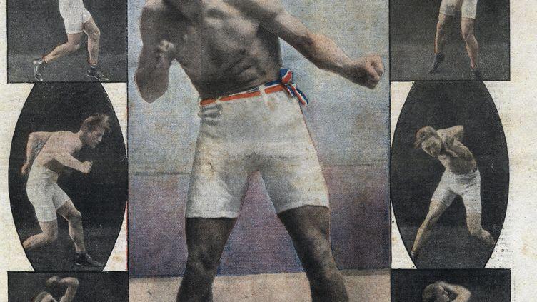 """Portrait du boxeur français Georges Carpentier (avant son combat pour le titre de champion du monde contre le boxeur américain Jack Dempsey), dans """"Le petit journal illustré"""" du 19 juin 1921. (LEEMAGE VIA AFP)"""