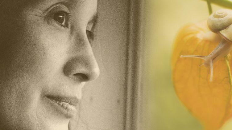 """Aki Shimazaki et extrait de la couverture de """"Maïmaï"""", son dernir roman (Actes Sud) (DR)"""
