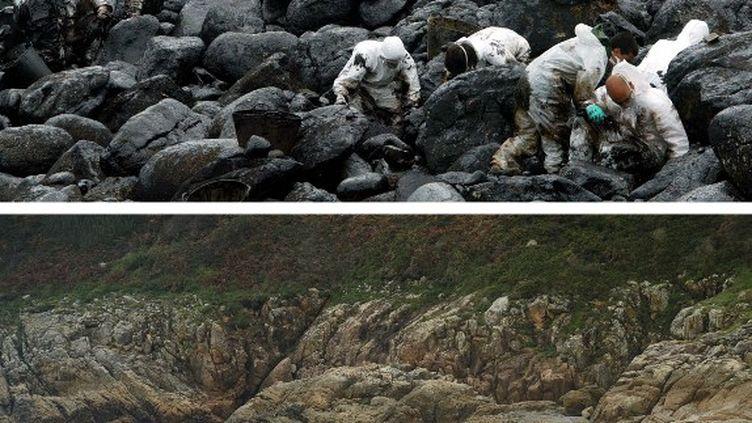 """Des bénévoles tentent de nettoyer la plage de Muxia (Espagne) après le naufrage du """"Prestige"""", le 17 avril 2003. (MIGUEL RIOPA / AFP)"""