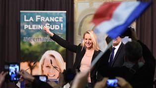 Marion Maréchal-Le Pen, la tête de liste du Front national en Provence-Alpes-Côte d'Azur, prononce un discours à Marseille (Bouches-du-Rhône) le soir du second tour des élections régionales, le 13 décembre 2015. (ANNE-CHRISTINE POUJOULAT / AFP)