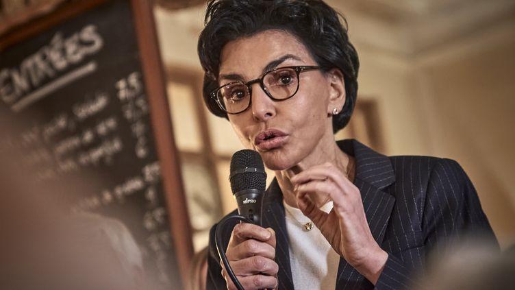 Rachida Dati, candidate LR à la mairie de Paris, le 25 février 2020. (ANTONIN BURAT / HANS LUCAS / AFP)