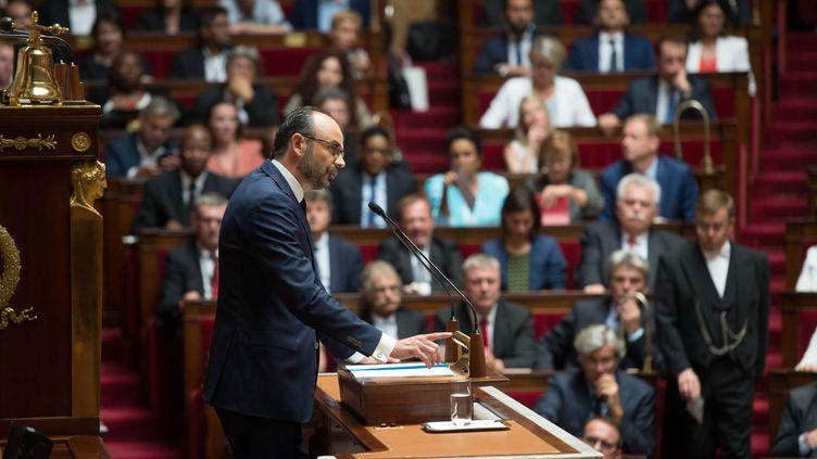 Edouard Philippe, Premier ministre, pendant son discours de politique générale, le 4 juillet 2017 à l'Assemblée nationale, à Paris. (CHAMUSSY / WITT/SIPA)