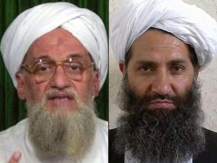 Le chef d'Al-Qaïda, Ayman Al-Zawahiri (à gauche), en 2012, et celui des talibans afghans, Haibatullah Akhundzada, en 2016. (TALIBANS AFGHANS VIA AFP)