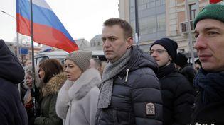 Le leader d'opposition russe, Alexeï Navalny, lors d'une marche en hommage à Boris Nemtsov, à Moscou, le 26 février 2017. (MAXIM SHIPENKOV / EPA)