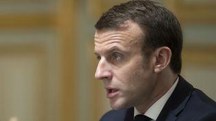 Emmanuel Macron, le 11 février 2019. (IAN LANGSDON / POOL)