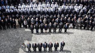 (Hommage national au ministère de l'Intérieur après l'assassinat de Jean-Baptiste Salvaing et de sa compagne Jessica Schneider © Maxppp)
