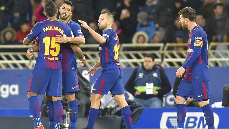 La joie des joueurs barcelonais (ANDER GILLENEA / AFP)