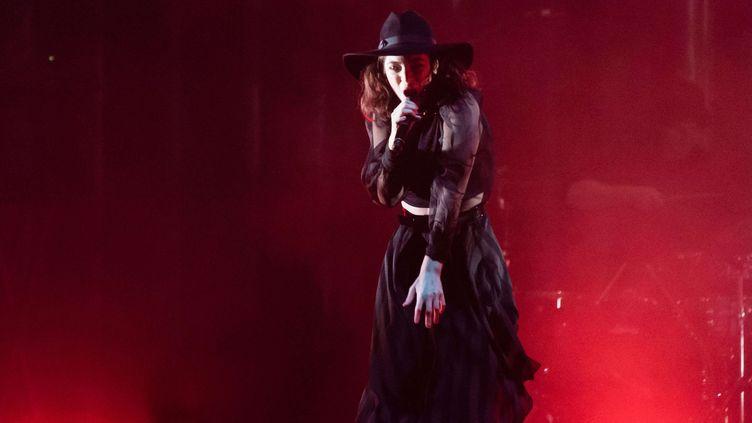 Lorde sur la scène de l'Alexandra Palace à Londres (27 septembre 2017)  (Richard Isaac / Shutterst / SIPA)
