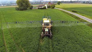 Un agriculuteur pulvérise des pesticides sur son champs, en juin 2013, dans le Nord de la France. (PHILIPPE HUGUEN / AFP)