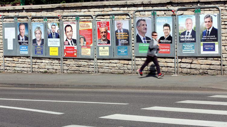 Les affiches des candidats à l'élection présidentielles à Pont-de-Roide, dans le Doubs, le 13 avril 2017. (MAXPPP)