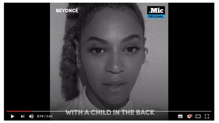 "Beyoncé dans la vidéo ""23 Ways You Could Be Killed If You Are Black in America""  (saisie écran .Mic Original)"