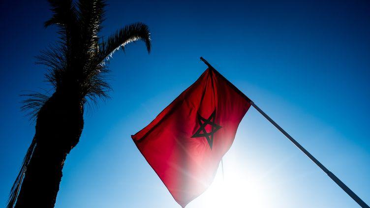 Un drapeau marocain flotte dans les airs près d'un palmier à Rabat, au Maroc. (MICHAEL BUNEL / LE PICTORIUM / MAXPPP)