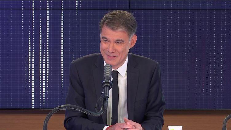 """Olivier Faure,premier secrétaire du Parti socialiste était l'invité du """"8h30 franceinfo"""",mardi25 mai 2021. (FRANCEINFO / RADIOFRANCE)"""