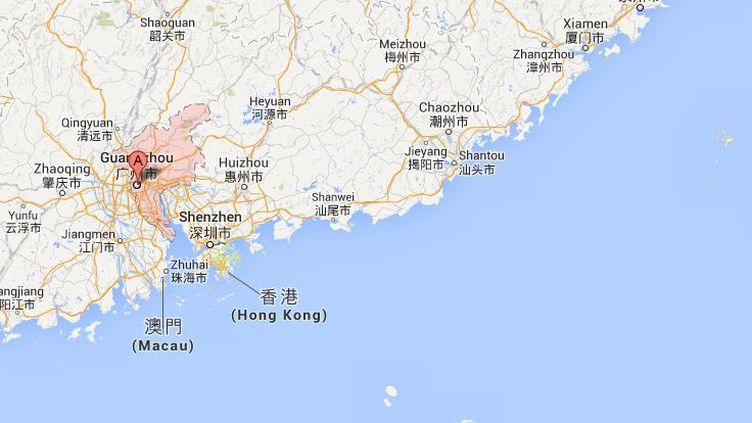 Capture d'écran Google Maps de Guangzhou en Chine où a été arrêté un militant des droits de l'homme, le 17 août 2013. ( FRANCETV INFO)