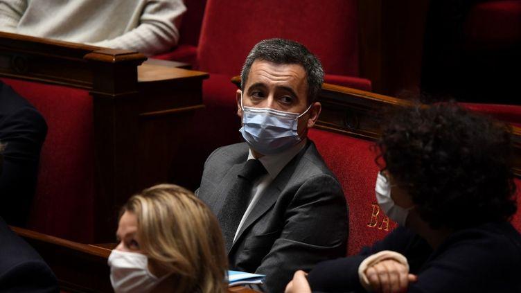 Le ministre de l'Intérieur, Gérald Darmanin, lors d'une séance dequestionsaugouvernementà l'Assemblée nationale, le 1er décembre 2020. (ALAIN JOCARD / AFP)