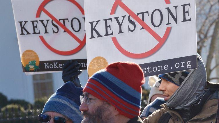 Des manifestants opposés au projet d'oléoducKeystone XL, devant la Maison Blanche, le 10 janvier 2015. (MANDEL NGAN / AFP)