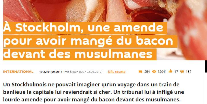 Le site Sputniknews raconte qu'un homme qui mangeait du bacon devant des musulmans a été condamné par la Justice suédoise (Capture d'écran Sputniknews)