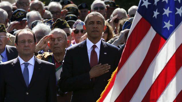 (La cérémonie au cimetière américain de Colleville © Reuters|Pascal Rossignol)