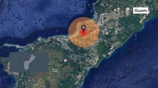 Le site Nukemapreprésente sur une carte les dégâts que ferait, ici sur l'île de Guam, une bombe dont la puissance est de 50 kilotonnes, après les essais réalisés par la Corée du Nord le 3 septembre 2017. (BAPTISTE BOYER / FRANCEINFO)